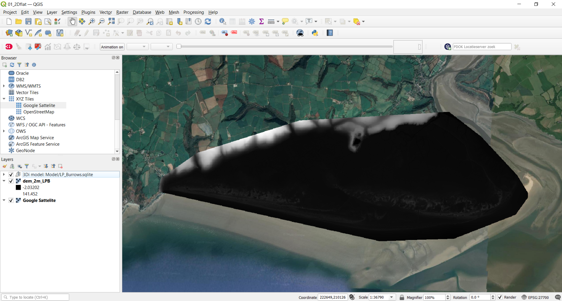 Empty LP_burrows.sqlite and DEM loaded into QGIS and projected on a google satellite background map.
